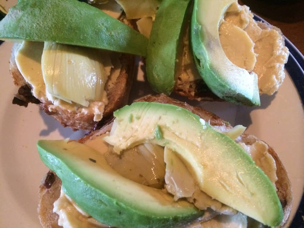 Avocado and artichoke heart open-face sandwiches